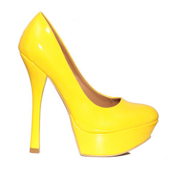 View Item Yellow Patent Platform Shoe